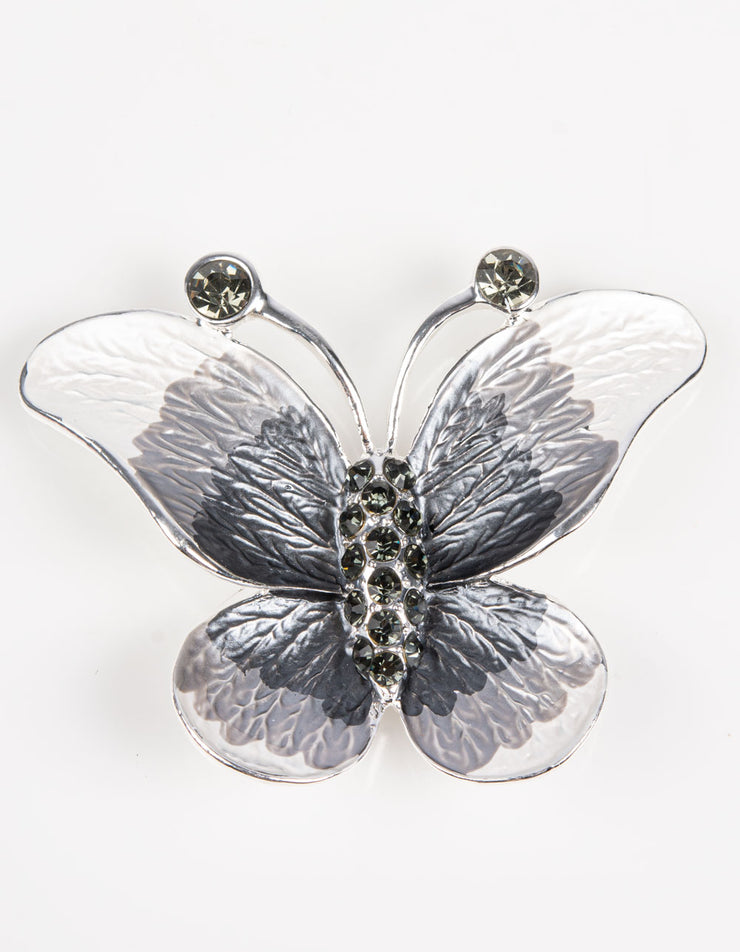 Brooch | Butterfly | Silver, Grey & White