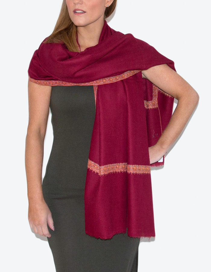 Image showing cashmere scarf red hashidar