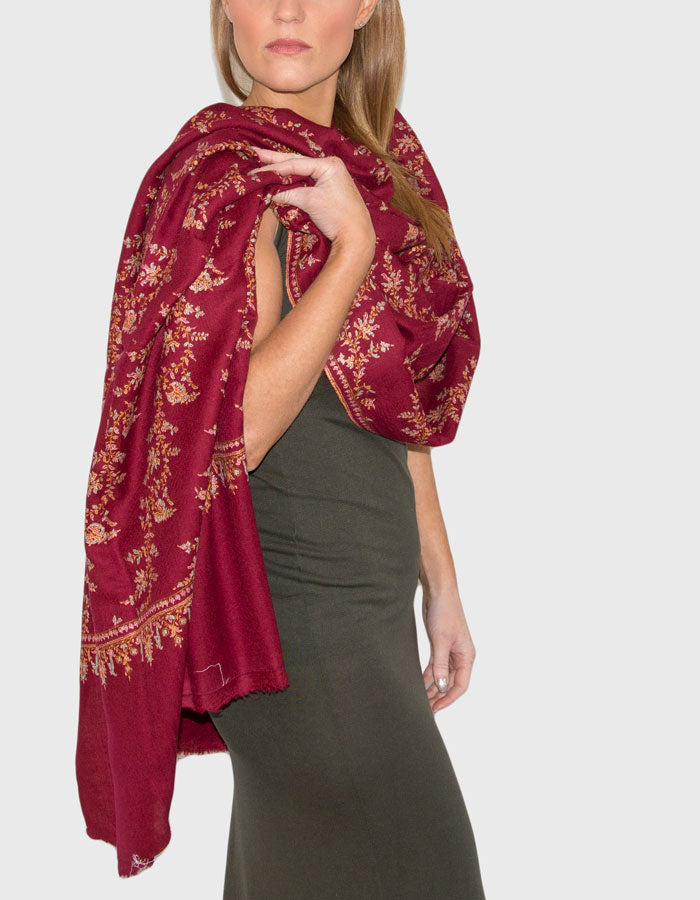 Image showing a cashmere scarf red jaalidar