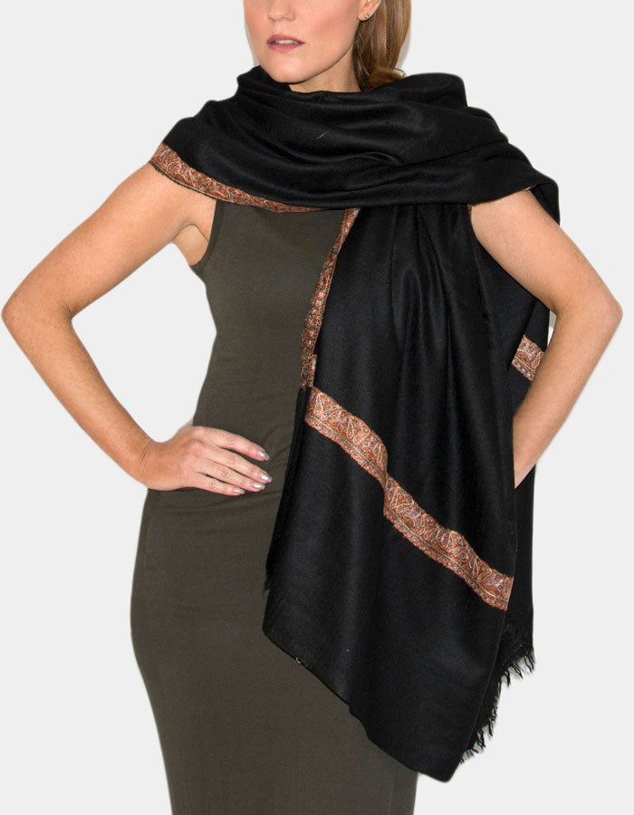 An image showing the Cashmere Pashmina Shawl Wrap Scarf - Black Hashidar