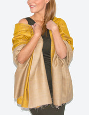 Image showing a Cashmere Scarf Gold Jaalidar