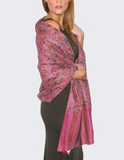 Image showing a Cashmere Scarf Pink Jaalidar