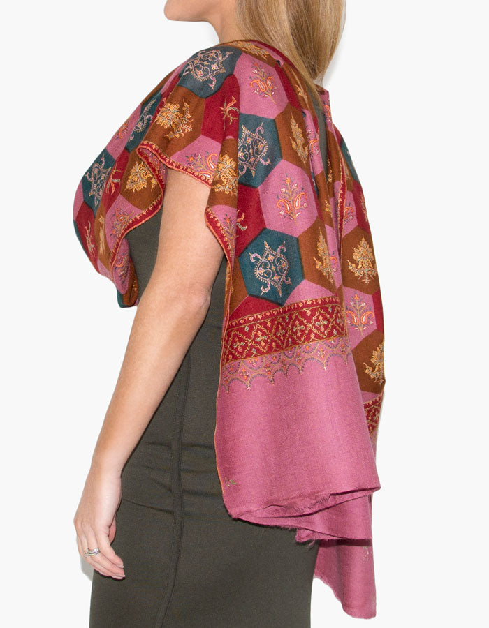 Image showing cashmere scarf pink jaalidar