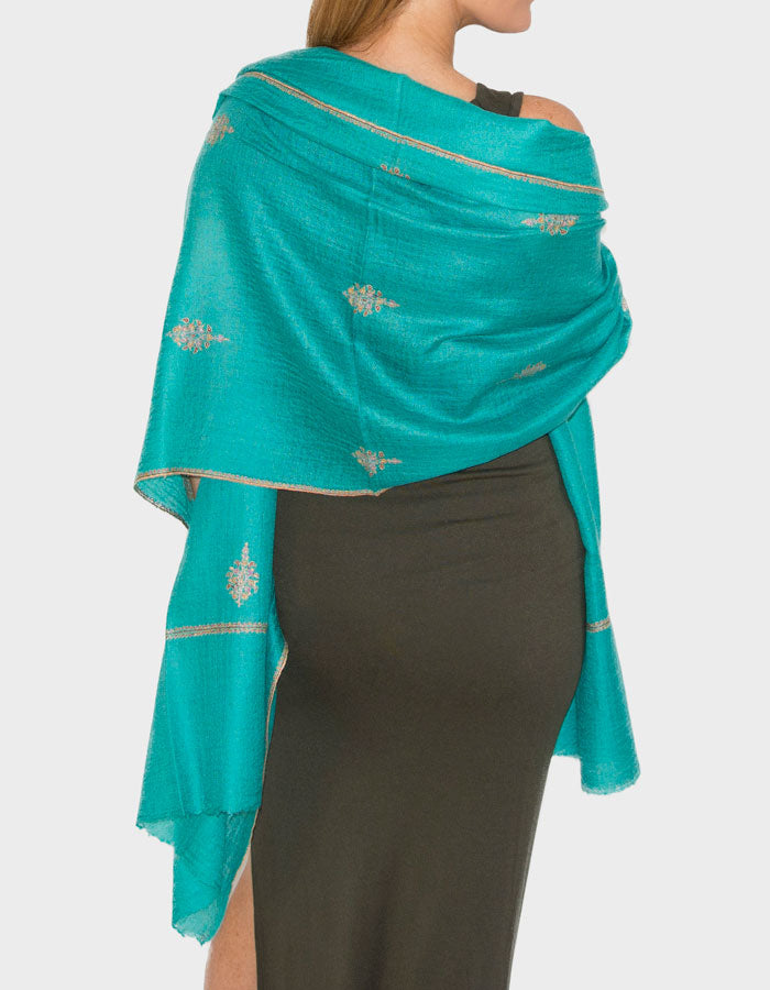 Image showing the Cashmere Pashmina Shawl Wrap Scarf - Jade Green - Outline Print