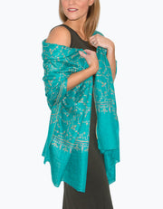 Image showing a Cashmere Scarf Turquoise Jaalidar
