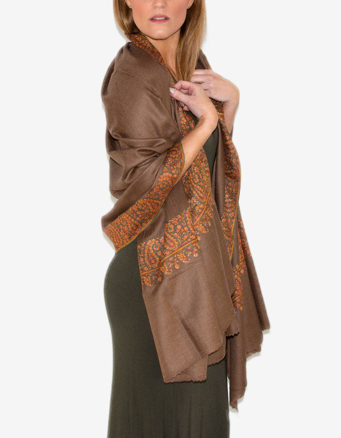 An image showing the Cashmere Pashmina Shawl Wrap Scarf - Bronze Neemdar