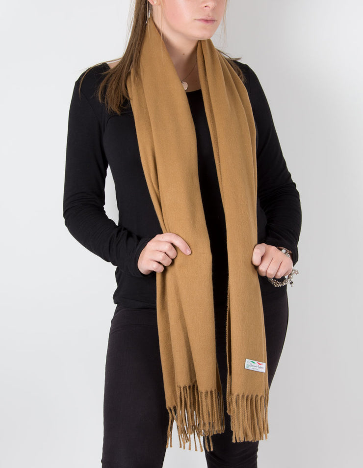 an image showing a camel blanket scarf