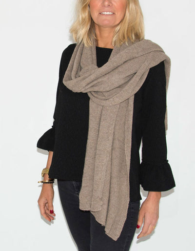 Soft Cashmere Mix Scarf Light Brown