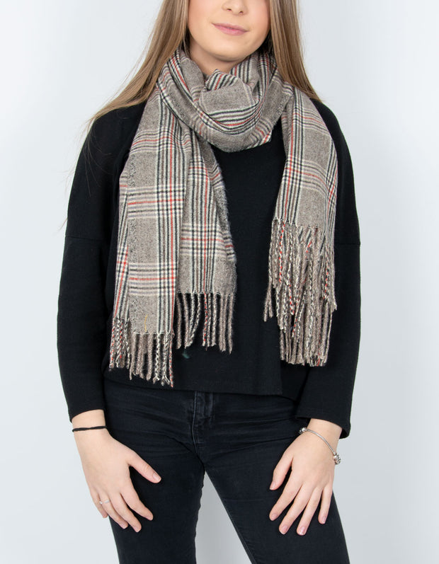 Check Print Blanket Scarf - Red