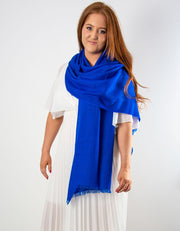 an image showing a cobalt blue cashmere pashmina for weddings