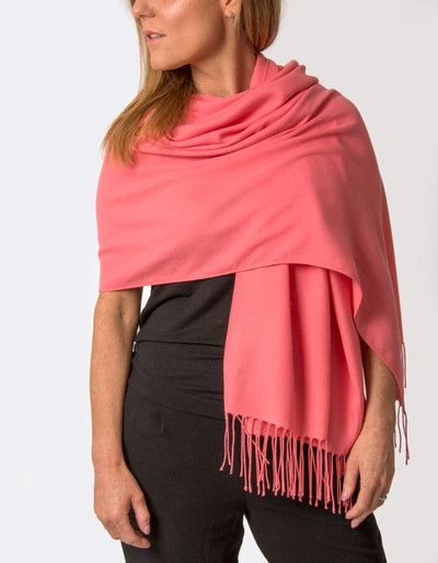 an image showing a coral pashmina
