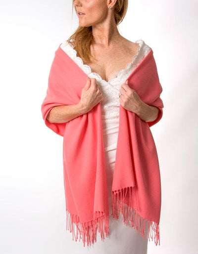 Coral Wedding Pashmina - Made In Italy