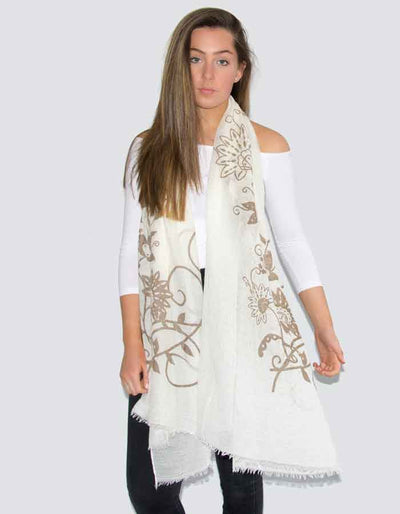 an image showing a cream butterfly print scarf