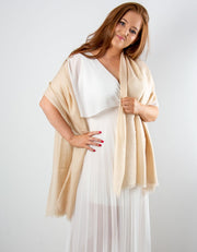 an image showing a cream cashmere pashmina for weddings