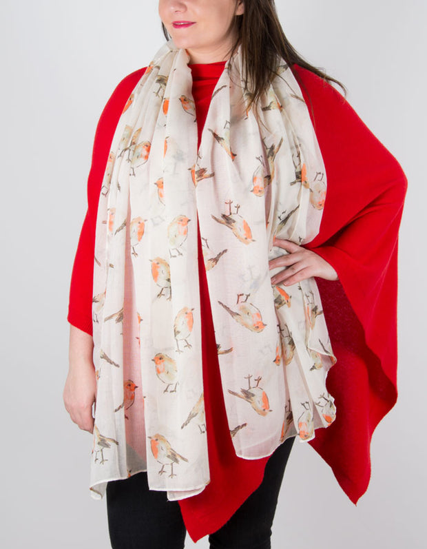 an image showing a Cream Robin Christmas Scarf