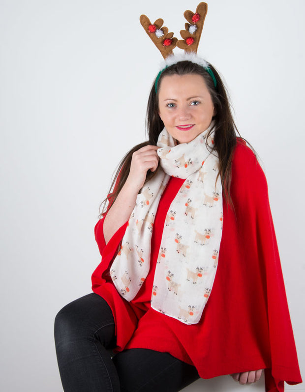an image showing a Cream Rudolph Christmas Scarf