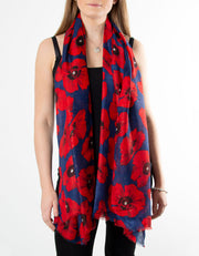 Red & Blue Sparkle Poppies Scarf