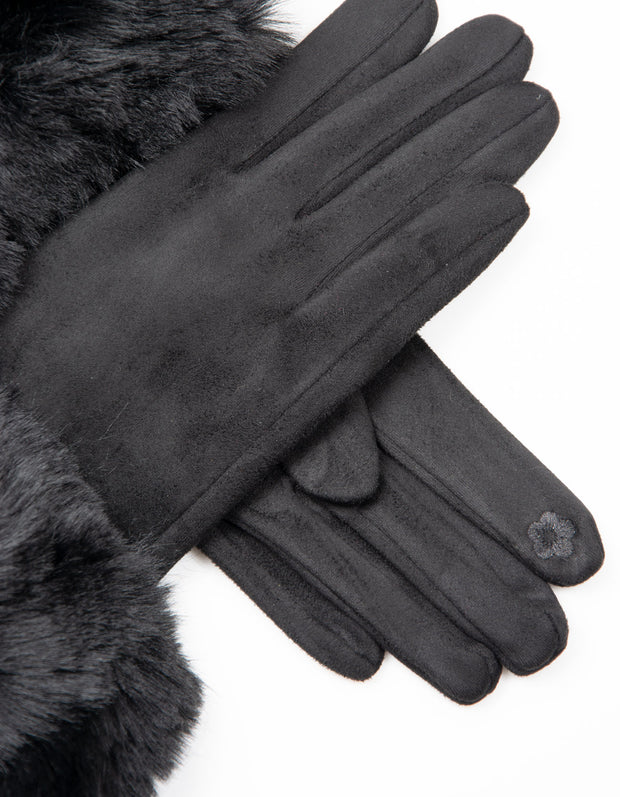 Black Faux Fur Gloves