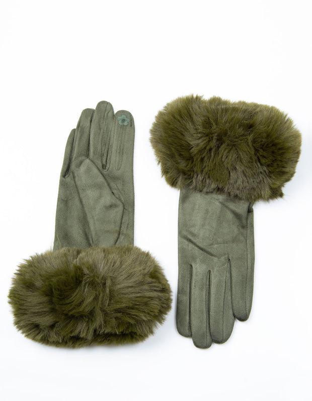 Khaki Faux Fur Gloves
