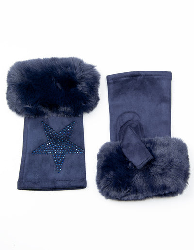 Fingerless Star Gloves | Navy