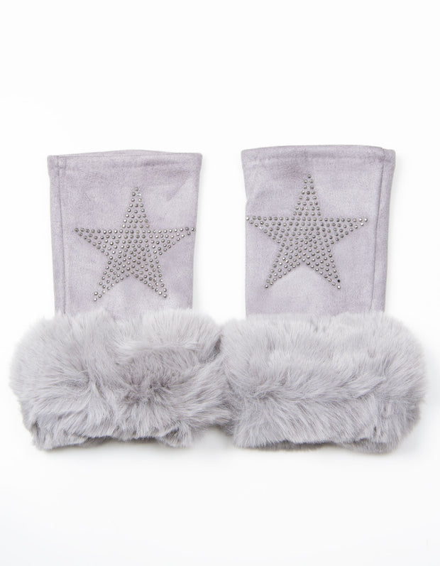 Fingerless Star Gloves | Grey