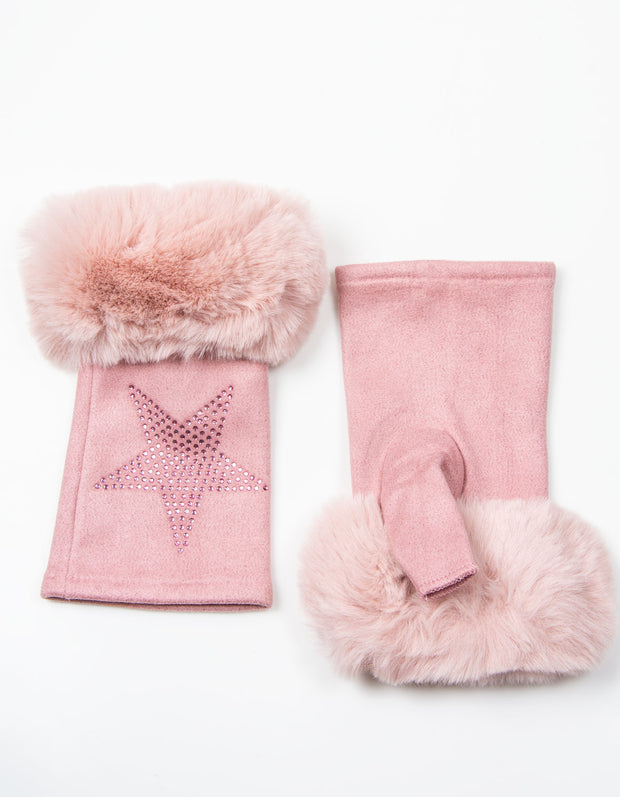 Fingerless Star Gloves | Pink