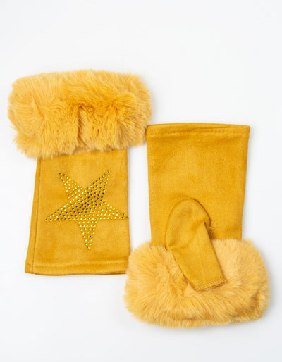 Fingerless Star Gloves | Mustard Yellow