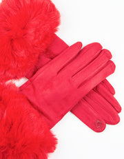 Red Faux Fur Gloves