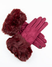Mulberry Faux Fur Gloves