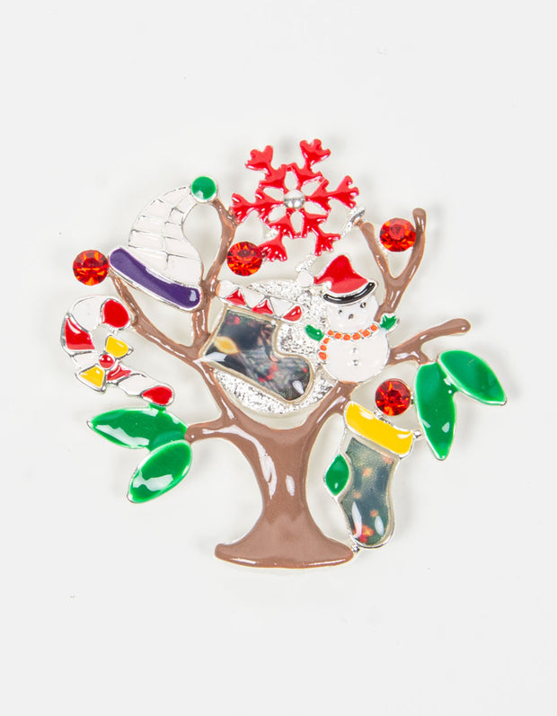 Brooch | Tree Christmas Scene