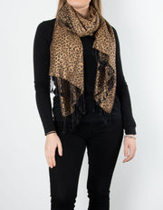 Leopard Print Pattern Pashmina Black And Bronze