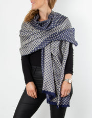 Navy Star Print Patterned Pashmina