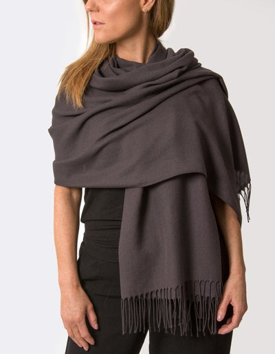 an image showing a dark aubergine coloured pashmina