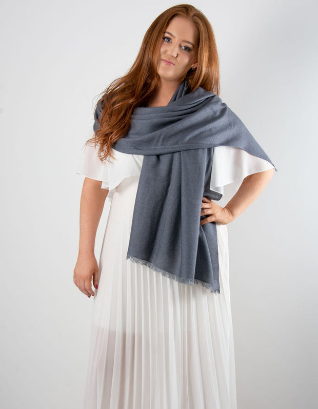 an image showing a dark grey cashmere pashmina for weddings