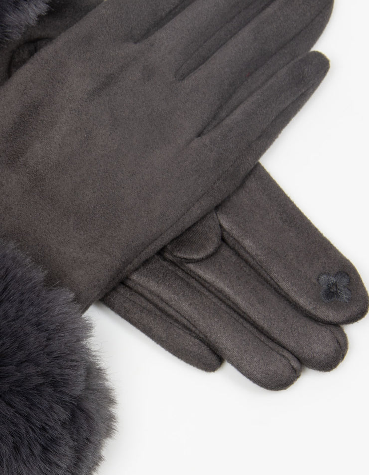 Dark Grey Faux Fur Gloves
