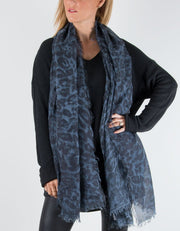 Leopard Print Scarf Navy MicroModal