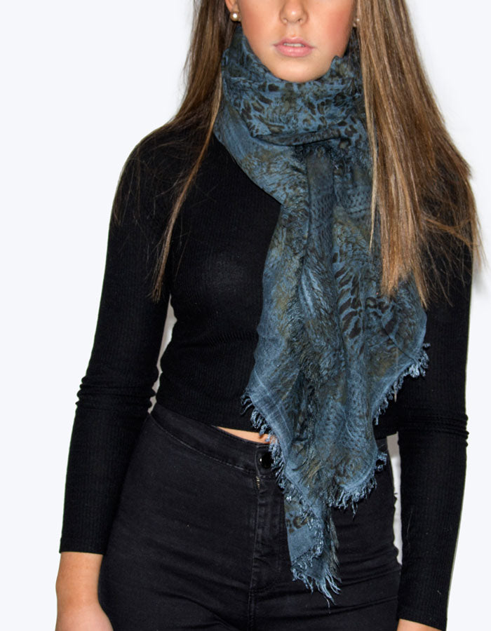 Image showing a Leopard Print Scarf in Blues