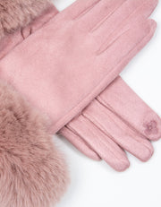 Dusky Pink Faux Fur Gloves