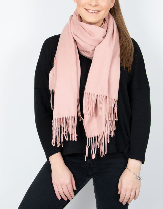 an image showing a dusky pink winter pashmina