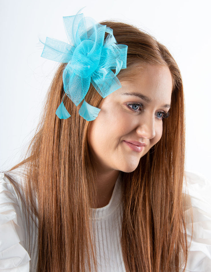 Fascinator Aqua Blue Flower
