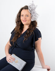 Fascinator Silver Grey Flower