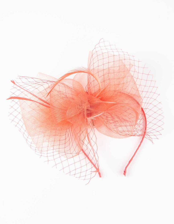 Fascinator Orange Coral Thin Feather