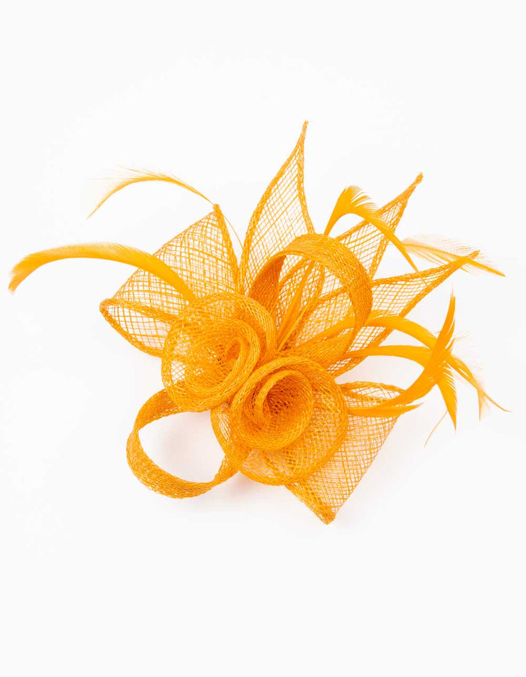Fascinator Small Floral Feather Amber Yellow