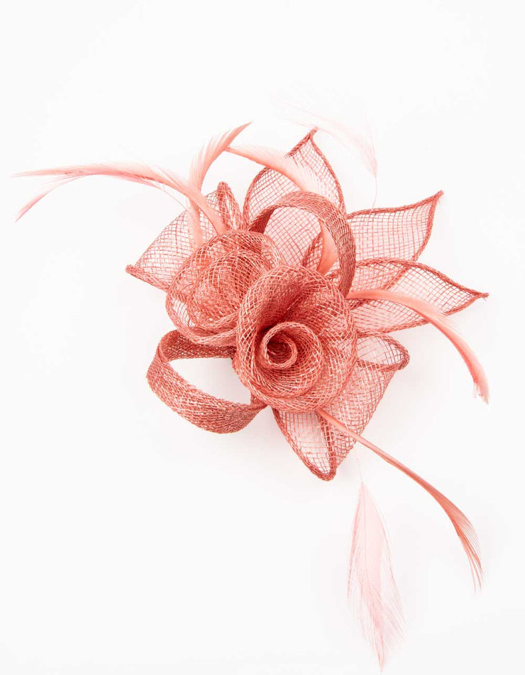 Fascinator Small Floral Feather Coral