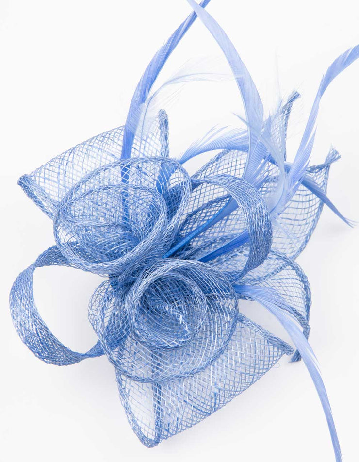 Fascinator Small Floral Feather Dusky Blue