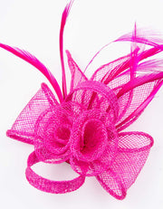 Fascinator Small Floral Feather Hot Pink