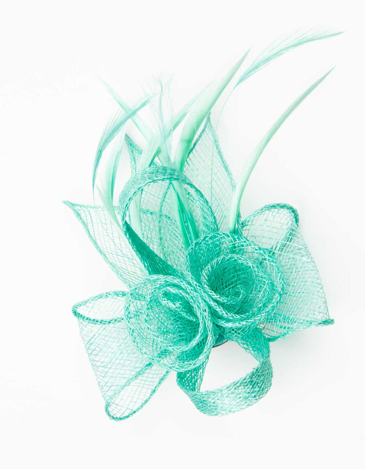 Fascinator Small Floral Feather Mint Green