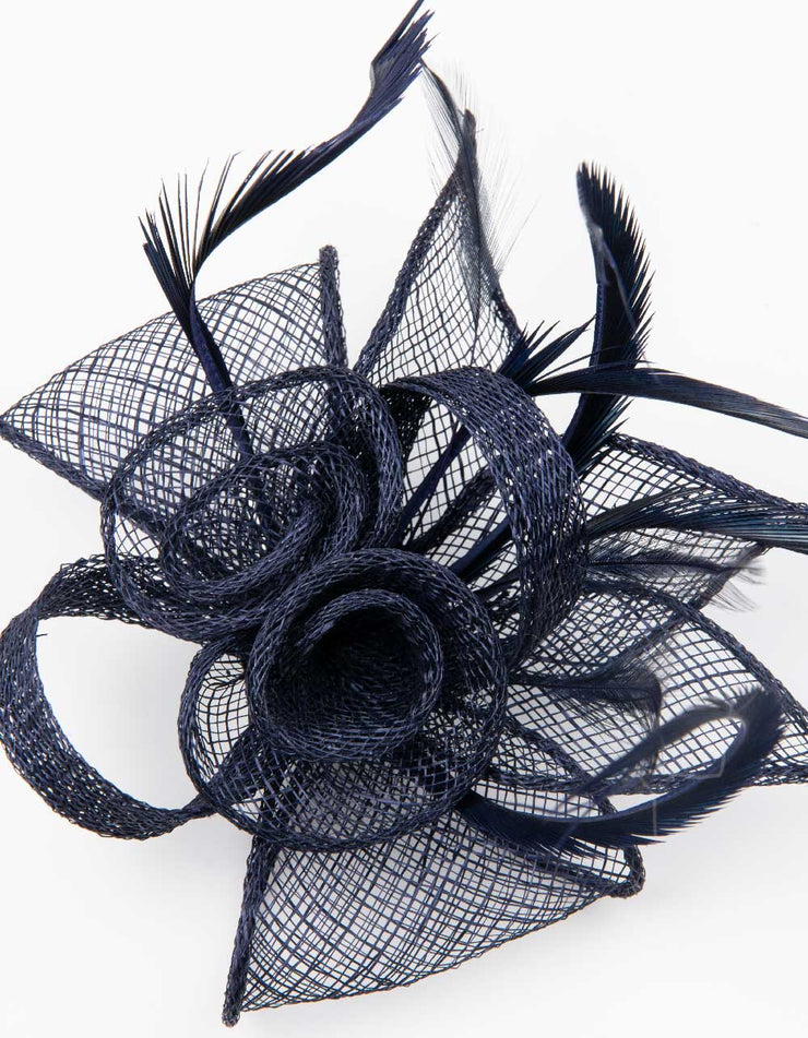 Fascinator Small Floral Feather Navy Blue