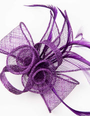 Fascinator Small Floral Feather Purple