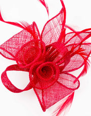 Fascinator Small Floral Feather Red